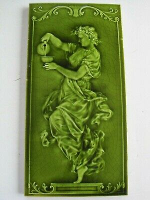 "Antique Victorian 12"" X 6"" Pilkington Moulded & Majolica Tile- Girl With Pitcher"