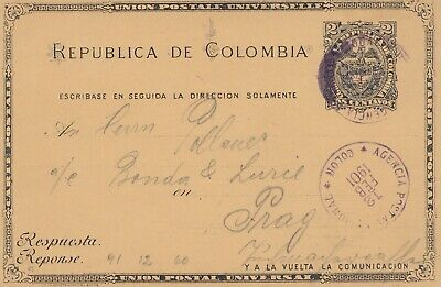 Colombia: 1901 post card Colon to Prag