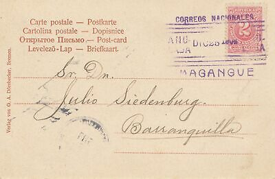 Colombia post card Bremen 1904 Magangue to Barranquilla