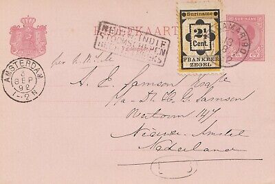 Surinam 1892: post card Paramaribo to Amsterdam