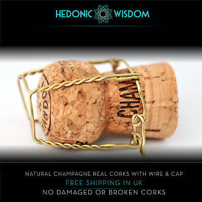 NATURAL CHAMPAGNE CORKS & WIRE CAP - weddings, decor, crafts. Fast Dispatch UK
