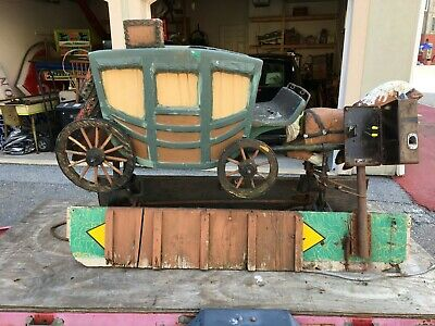 VERY RARE VINTAGE 1950's HORSE AND STAGECOACH KIDDIE RIDE-READY FOR RESTORATION