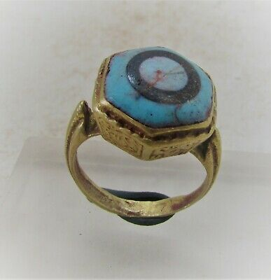 Ancient Phoenician Gold Gilded Ring With Mosiac Glass Insert