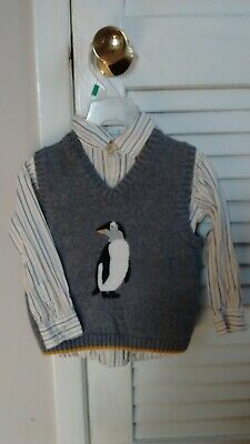 Janie & Jack Penguin Sweater Vest And Striped Dress Shirt Boys/Toddlers Size 2T