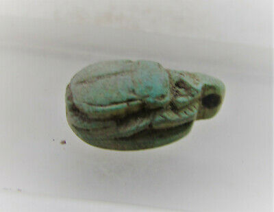 Beautiful Ancient Egyptian Faience Scarab Seal Amulet With Heiroglyphics