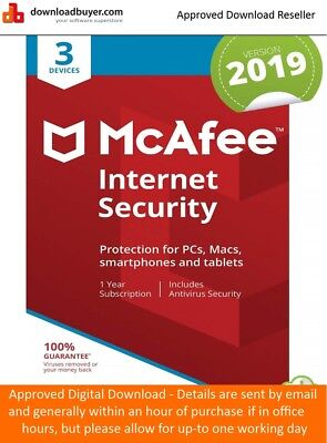 McAfee Internet Security 2019 3 Devices 1 Year Licence - NEW