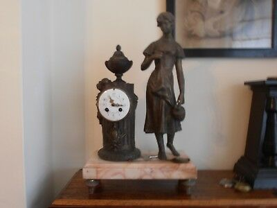 Victorian Clock With Spelter Figure