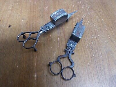 2x Ornate Vintage Candle Snuffer Wick Trimmer, Footed Scissors