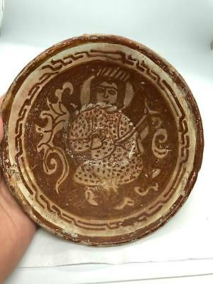 (15.6CM) ANCIENT PERSIAN KHORASAN glazed TERRACOTTA BOWL WITH KING PLAY RABAB