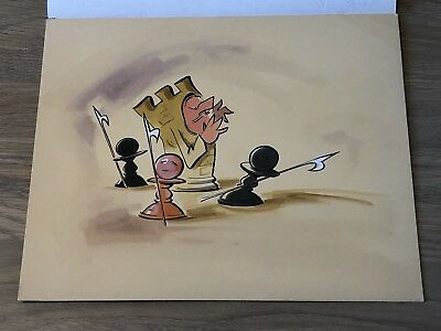 Tony Hart Original Artwork Sketch Coloured Art Collectible Chess Castle Cartoon