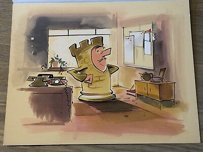 Tony Hart Original Artwork Sketch Coloured Art Collectible Chess Office Cartoon