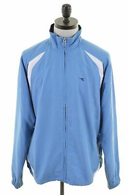 DIADORA Mens Tracksuit Top Jacket Large Blue Polyester Vintage KZ42