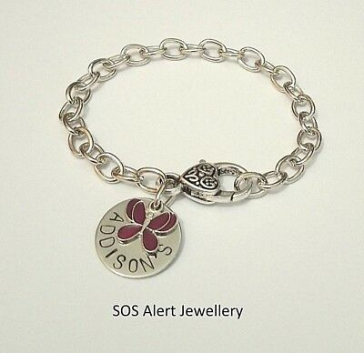Medical Alert SOS Emergency Warning 22cm Cable Chain Bracelet Butterfly Charm