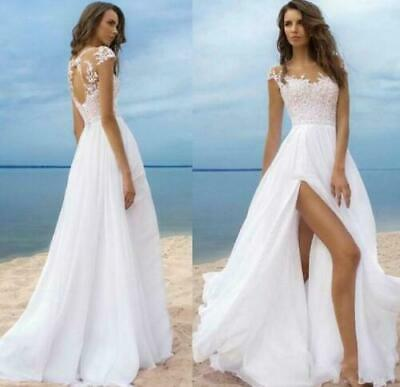 c030A Line Wedding Dresses Beach Chiffon Side Split Boho Sheer Back Bridal Gowns