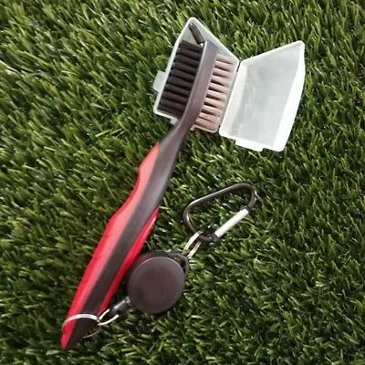 RED Golf Brush w/ Groove Cleaner-Retractable Cord-Dual Sided Brush w/ Cover