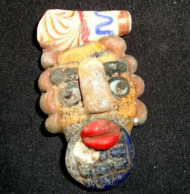 Old Phoenician Mosaic Glass Bead Bearded Red Face Curly Hair Head Pendant 808