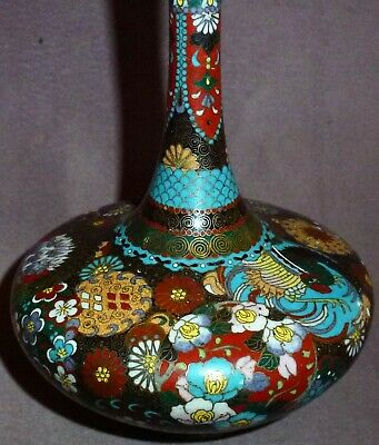 Very Fine Japanese Cloisonne Vase Super Detail In the Style of Namikawa Meiji