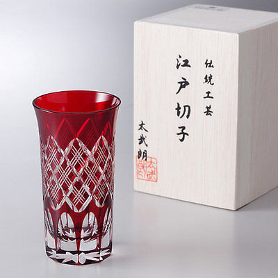 "Cut glass EDO KIRIKO ""Yarai Crest"" - shot glass/red -"
