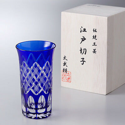 "Cut glass EDO KIRIKO ""Yarai Crest"" - shot glass/blue -"