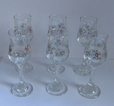 Coloroll Silk 'n' Flowers Set of 6 Sherry Glasses - Boxed - Please Read.