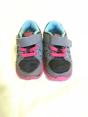 Toddler Girl's Nike Running Shoes - Wolf Grey/Comet Blue-Pink Size 4C