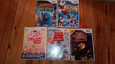 Rayman Monsters Aliens Billy Wizard Cloudy Meatballs Brain Game Nintendo Wii Kid