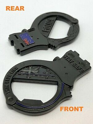 Handcuff Coin / Bottle Opener, Black, Police, Thin Blue Line, 1 x Item