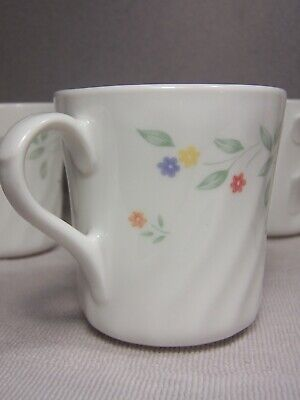 Six Corning, Corelle English Meadow Coffee Tea Mugs Cups, Excellent Condition