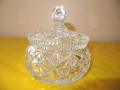 """ART DECO CLEAR GLASS DRESSING TABLE LARGE LIDDED BOWL dia 4"""" chips in the rim,"""