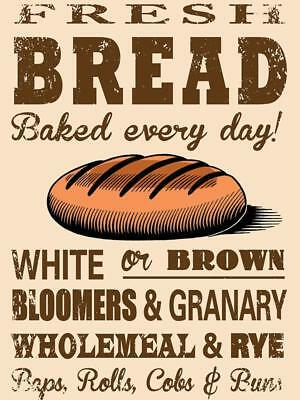 Fresh Bread Baked Every Day Vintage Metal Sign Plaque Kitchen Bakery Wall Decor