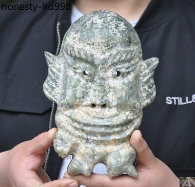 "8""Rare China Hongshan culture old jade stone hand carved people face mask statue"