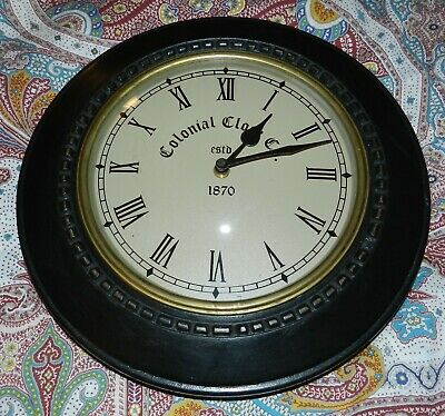 """Vintage Colonial Clock Company Wall Clock Black Wood w/Antique Gold Accent - 12"""""""