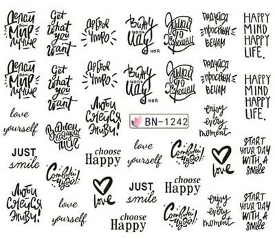 Nail Art Stickers Water Decals Sayings Choose HAPPY (BN1242)