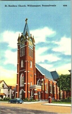 1940'S. ST. BONIFACE CHURCH. WILLIAMSPORT, PA. POSTCARD t12