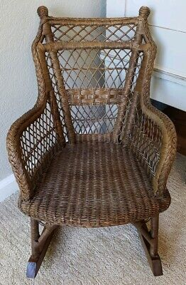 Vintage Childs Childrens Wicker Boho Rattan Cane Rocker Rocking Chair Heywood  ?
