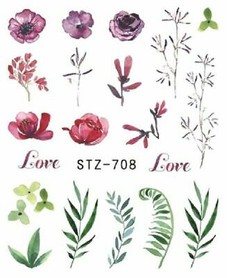Nail Art Stickers Water Decals Transfers Flowers Ferns (BN1165)