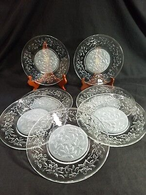 "Set (7) Bread Dessert Plates 8"" Glass PRINCESS HOUSE Crystal Fantasia Poinsettia"