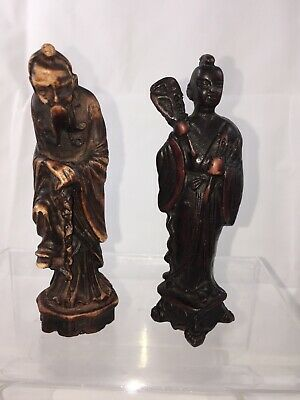 2 Carved Chinese Asian Old Man with Beard Staff Holding Item In Hand Wood? Bone?