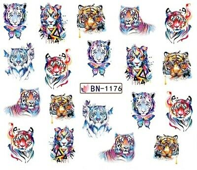 Nail Art Stickers Water Decals Transfers Tigers (BN1176)