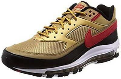 Nike Mens Air Max 97 /BW Metallic Gold/Red Leather Size 10.5