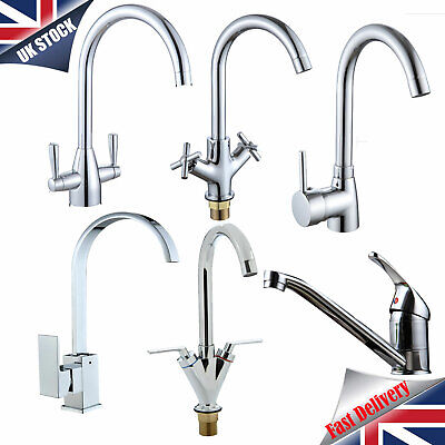 Modern Kitchen Sink Mixer Taps Swivel Spout Dual Lever Tap Mono Chrome Faucet