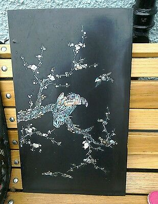 Antique Oriental Wood Panel With Mother Of Pearl