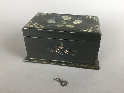 Victorian  tea caddy papier-mâché  Featuring Mother-of-pearl & Abalone