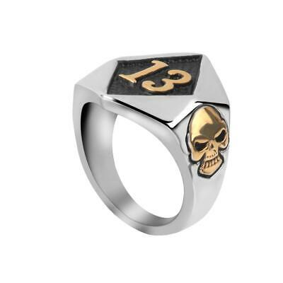 Punk Rock Men's 316L Steel Lucky 13 Skull Motorcycle Biker Finger Ring Jewelry