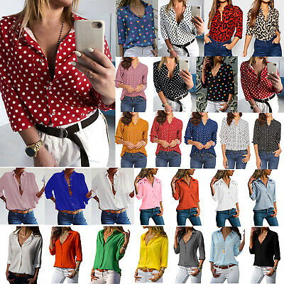 Women Long Sleeve Shirts Blouse Ladies Office V Neck Loose Casual Tops Plus Size