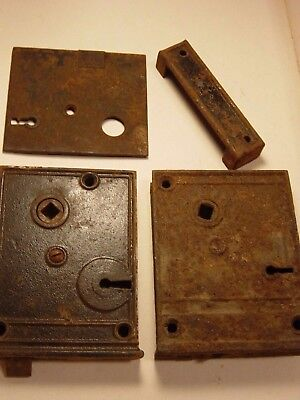 Antique Door Rim Lock Cast Iron Hardware Lot Industrial Art Replacement Parts