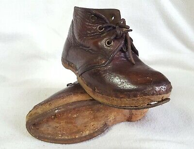Tiny Pair of Antique Childrens Leather Boots
