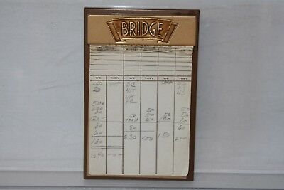 Vintage 1950's Bridge Score Note Pad Holder with quick reference card
