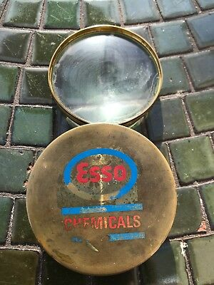 Antique Vintage Esso Chemicals Advertising Brass Magnifying Glass