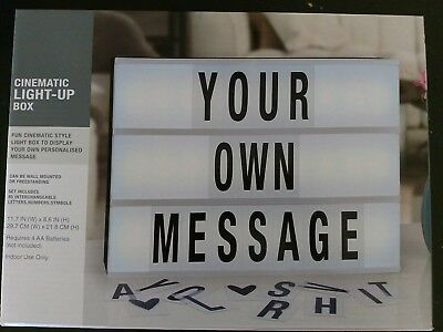 cinematic light up box marquee display messages wall mount/ free stand 11.7x8.6